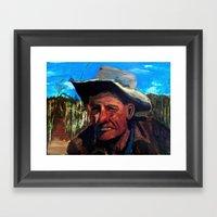 Man In Field Framed Art Print