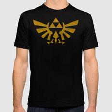 Zelda Golden Hylian Crest Mens Fitted Tee Black SMALL