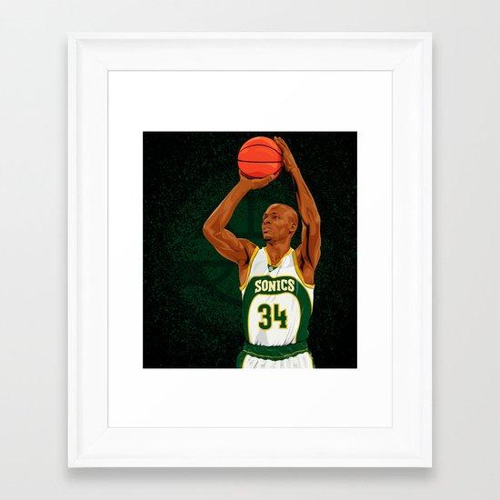 Ray Allen: Seattle Supersonics Framed Art Print
