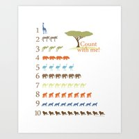 Counting Safari Animals - Safari colorway Art Print