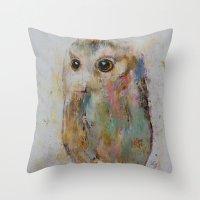 Owl Painting Throw Pillow