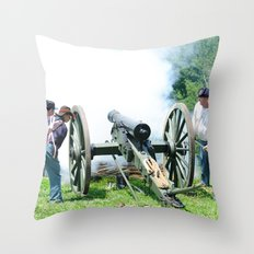 Civil War era canon fire Throw Pillow