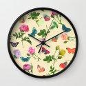 Las Rosas & Mariposas II Wall Clock