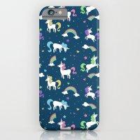 Unicorns and Rainbows - teal -tiny iPhone 6 Slim Case