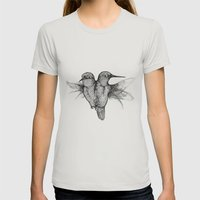 Conjoined Hummingbirds Womens Fitted Tee Silver SMALL