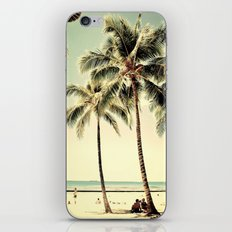Retro Vintage Palm Tree with Hawaii Summer Sea Beach iPhone & iPod Skin