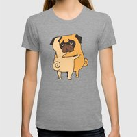 Pug Hugs Womens Fitted Tee Tri-Grey SMALL