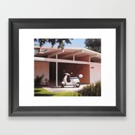 Framed Art Print featuring Eichler With Vespa by Danny Heller