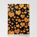Valentine's | Girly Gold Glitter Cute Love hearts Pattern Black Stationery Cards