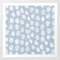 WOODBLOCK FLOWERS Art Print