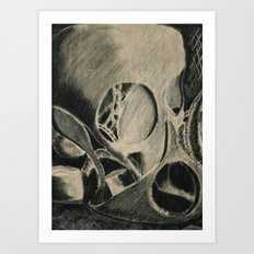 Skull in Scrapyard Art Print
