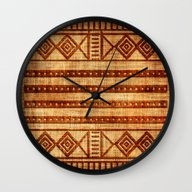 Wall Clock featuring Embossed African Pattern by Robin Curtiss