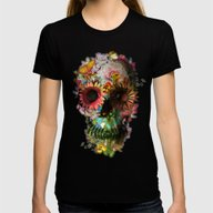 SKULL 2 Womens Fitted Tee Black LARGE