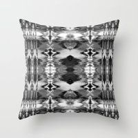 B&W Watercolor Ikat Throw Pillow