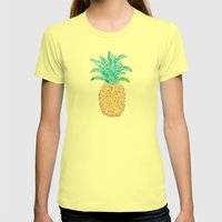 Pineapples and Polka Dots (pattern) Womens Fitted Tee Lemon SMALL