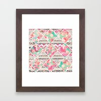 Aztec Floral  Diamond Framed Art Print