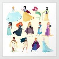 princess Art Prints featuring Princess by Chabe Escalante