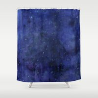 Galaxy Watercolor Texture Night Sky Stars Shower Curtain