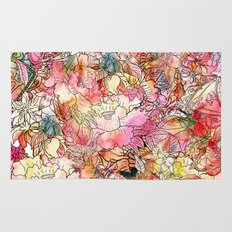 Summer Flowers   Colorful Watercolor Floral Pattern Abstract Sketch Rug