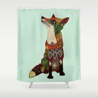 Fox Love Mint Shower Curtain
