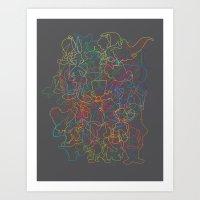 50 Cartoon Silhouettes Art Print