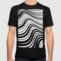 Organic Stripes #08: Monochrome version Mens Fitted Tee Tri-Black SMALL