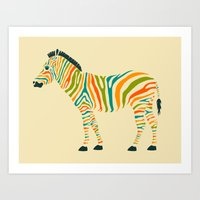 horse Art Prints featuring Zebra by Jazzberry Blue