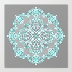 Teal and Aqua Lace Mandala on Grey Canvas Print