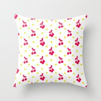 Dots And Cherries Throw Pillow