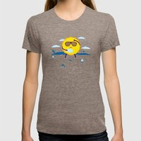 Hot Day  Womens Fitted Tee Tri-Coffee SMALL