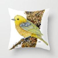 Yellow Warbler Tilly Throw Pillow