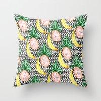 Pineapple And Banana Throw Pillow