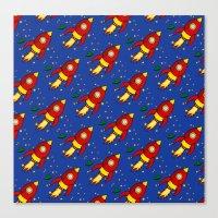 Space Rocket Pattern Canvas Print