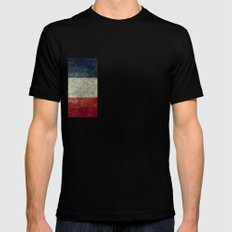 Mississippi State Flag, Distressed version Mens Fitted Tee Black SMALL