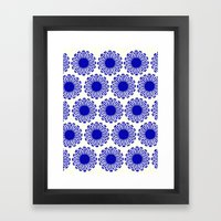 vintage flowers blue  Framed Art Print
