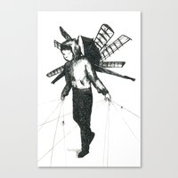 Boy Draws Wings Canvas Print
