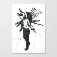 boy draws wings Canvas Print