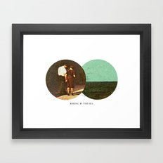 Boring by The Sea | Collage Framed Art Print