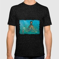 Octopus & The Diver Mens Fitted Tee Tri-Black SMALL