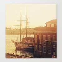 Tall Ship on Waterfront Canvas Print