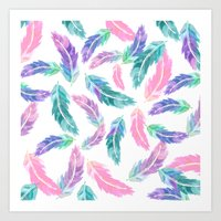 Pastel pink turquoise hand painted watercolor feathers pattern Art Print