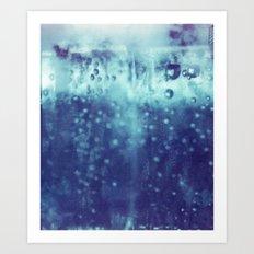 Blue and purple bubble clouds Art Print