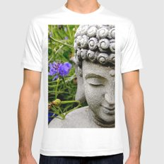 Peace Through Flowers Mens Fitted Tee White SMALL