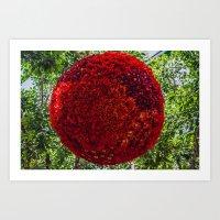 Red Ball of Flowers Art Print