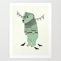 Green Bear Art Print
