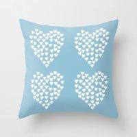 Hearts Heart X2 Light Bl… Throw Pillow