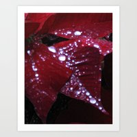 Diamonds on red velvet Art Print