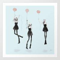 Girls Afloat Art Print
