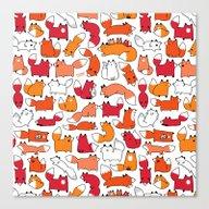 Foxy Foxes Doodle Canvas Print