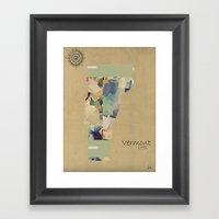 Vermont State Map Framed Art Print